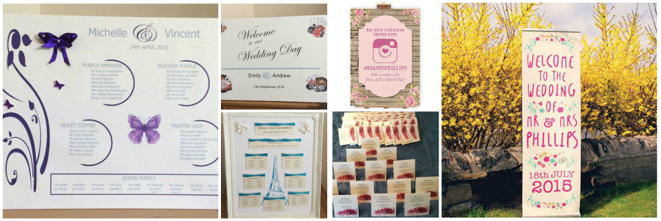 personalised wedding stationery, signs, banners, favours and more
